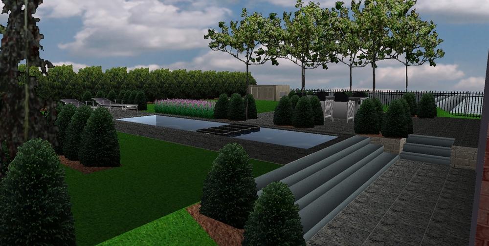 3d tuin ontwerpen a van spelde hoveniers strakke moderne for Tuin online ontwerpen